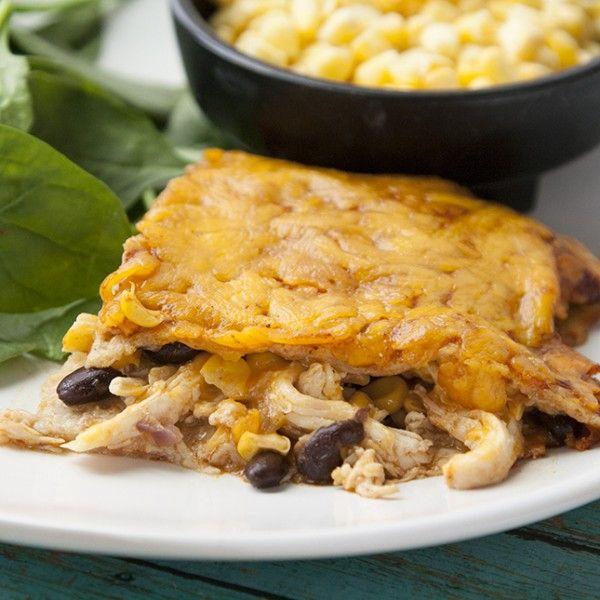 Skinny Chicken Enchilada Casserole...just made! Very tasty!