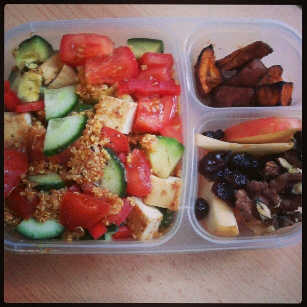 :Quinoa, couscous salad with tomato, cucumber, avocado, bell pepper ...