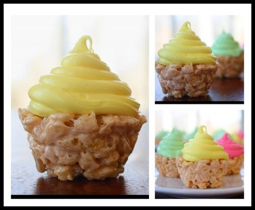 CUTE! Rice Krispie Treats pressed into mini-muffin tin, then frosted.