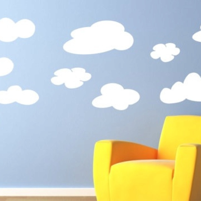 Adorable cloud wall decals.