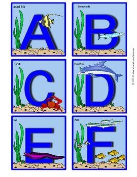 ocean alphabet flashcards uppercase