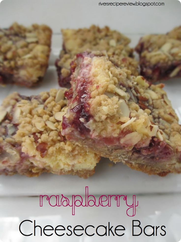Raspberry Cheesecake Bars. Two of my favorite things in a bar! Delish!