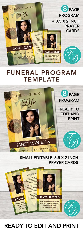 Sunflower Funeral Program Templates, Memorial ideas, Funeral program, Funeral Templates, Memorial program, Funeral Printables