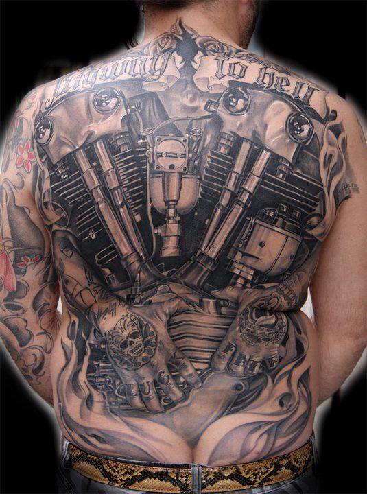 incredible ink highway to hell tattoo engine biker motorcycle biker tattoos pinterest. Black Bedroom Furniture Sets. Home Design Ideas