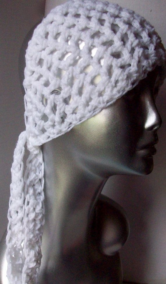 Crochet Hair Kerchief : Hair Bandana Kerchief Pink Crochet Head Scarf Rockabilly Cover Tie La ...