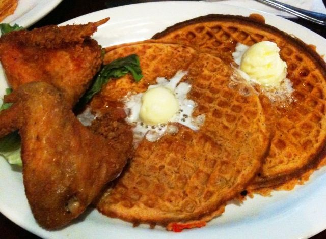 Buttermilk Fried Chicken And Sweet Potato Waffles Recipe — Dishmaps