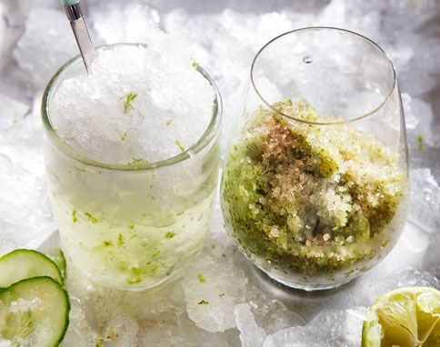 Cucumber And Lime Granita With A Mint Crunch