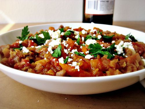 Homemade Italian Sausage and Roasted Red Pepper Lentil Stew