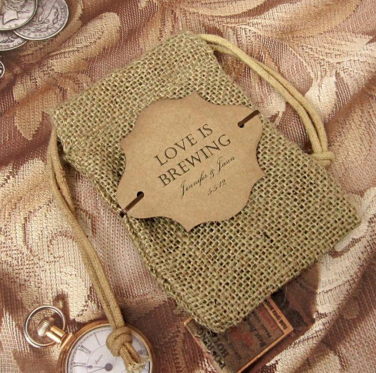Burlap Wedding Favor Bags Diy : DIY Wedding Favorswrap sealed single-pot packets from BJBeansCoffee ...