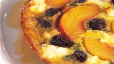Sunday Brunch! Frittata with Peaches and Cherries