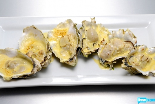 Oysters with Salsa Verde, Cilantro, Horseradish & Red Chili