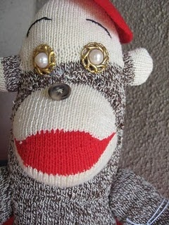 One of my sock monkeys. I like to make them, but don't always have time for them.