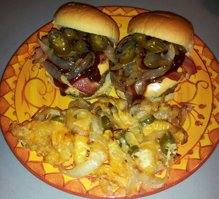 bacon barbecue cheeseburgers w grilled onions and jalapenos and copa ...