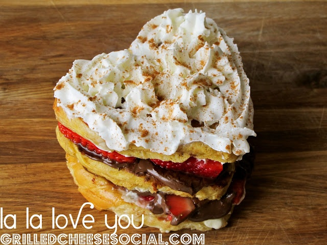 ... nutella, whipped cream and strawberries on French toast challah bread