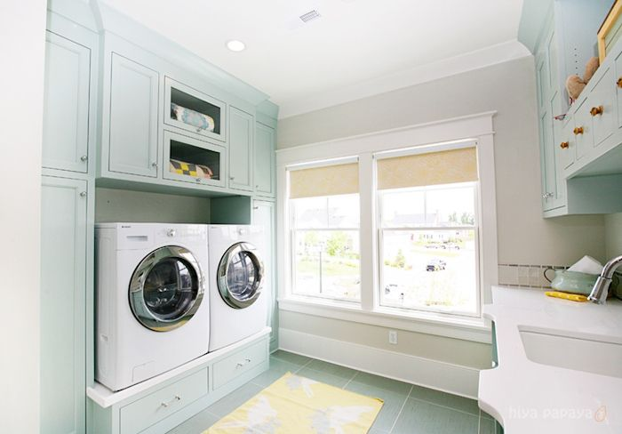 Love the pedestal under the washer and dryer
