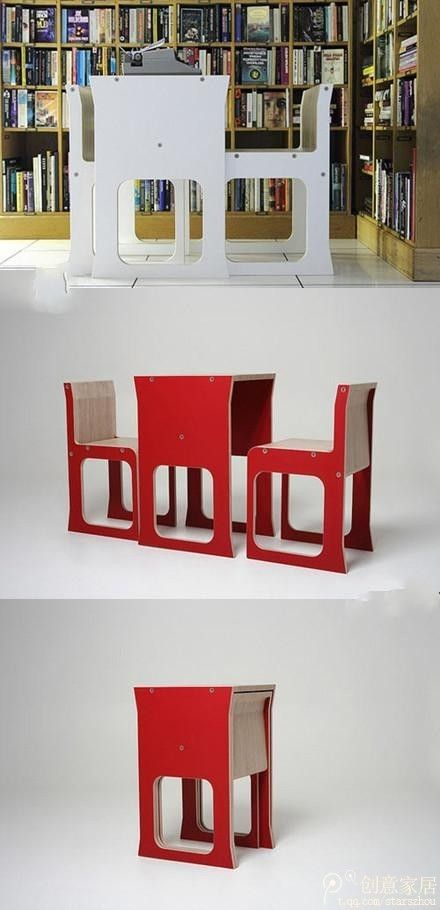 How 2 chairs and 1 table merge together seamlessly, designer – Jody Leach. Another space saver
