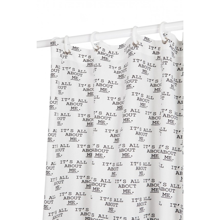 ... Its All About Me Microfiber Shower Curtain in Black / White - IAAMF-SC