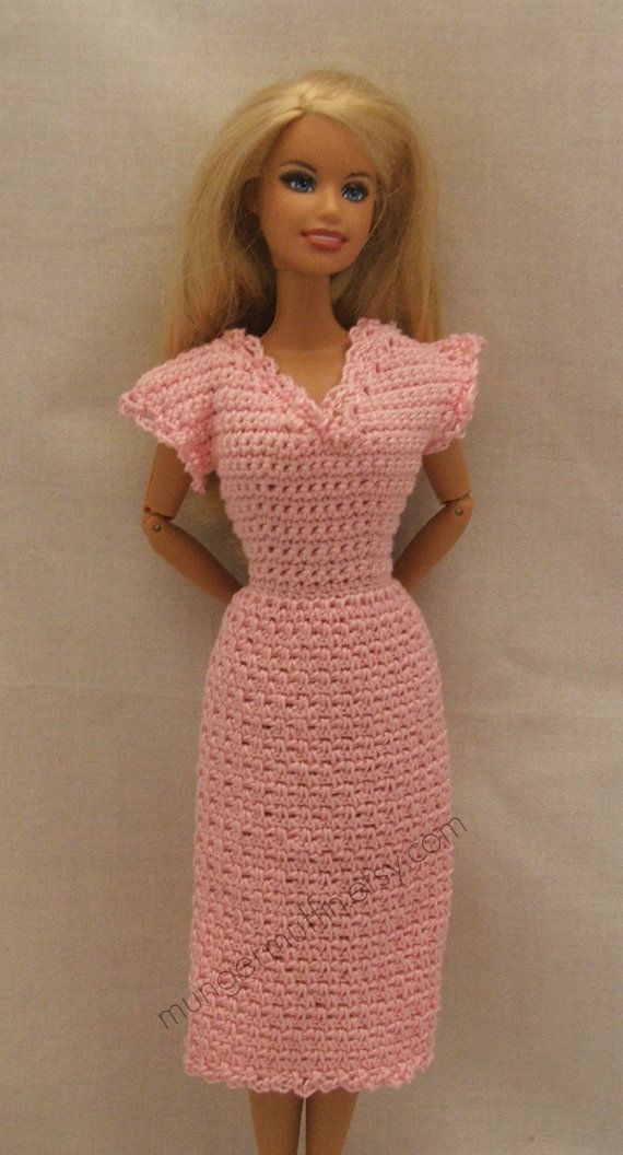 Crocheted Pink Bridesmaids dress fits Barbie