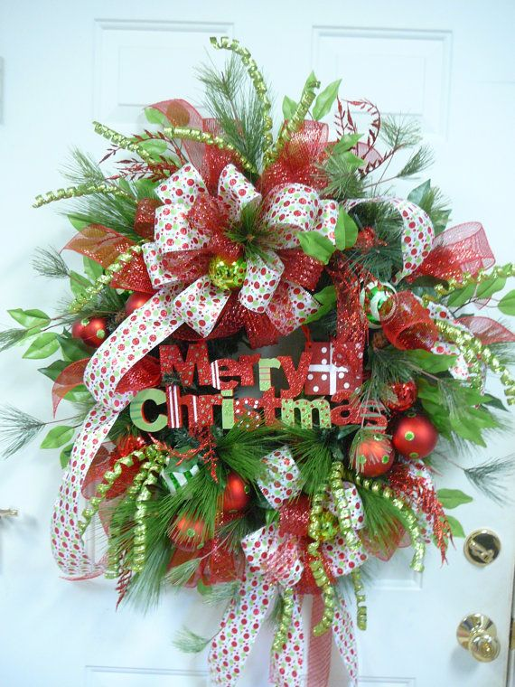 Xl gorgeous merry christmas door wreath outdoor by for Exterior christmas wreaths