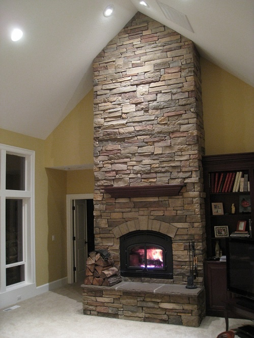 tall ceiling and stone fireplace home decor pinterest