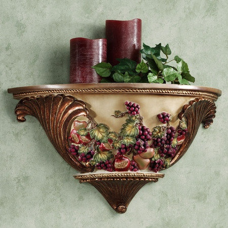 Wall shelf tuscan decor for my kitchen pinterest for Wine and grape themed kitchen ideas