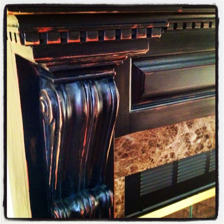 Black Beauty Distressed Finish On Fireplace Mantel Chateau Gregory Pinterest