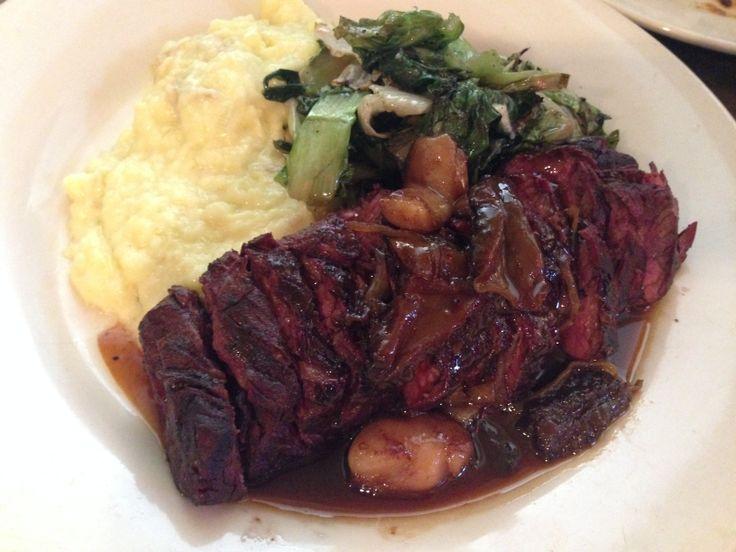 Wood-grilled hanger steak with bone marrow and morel mushroom sugo ...