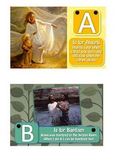 Gospel ABC's book printouts- you can put your own pics in the powerpoint and print. laminated and made a little book for E