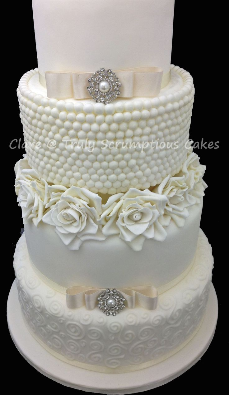 Cake Decor Pearls : Rose and pearl wedding cake Cake Decorating Pinterest