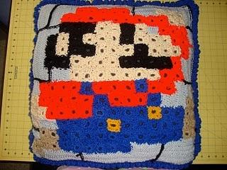 Crocheted Mario pillow (granny squares)