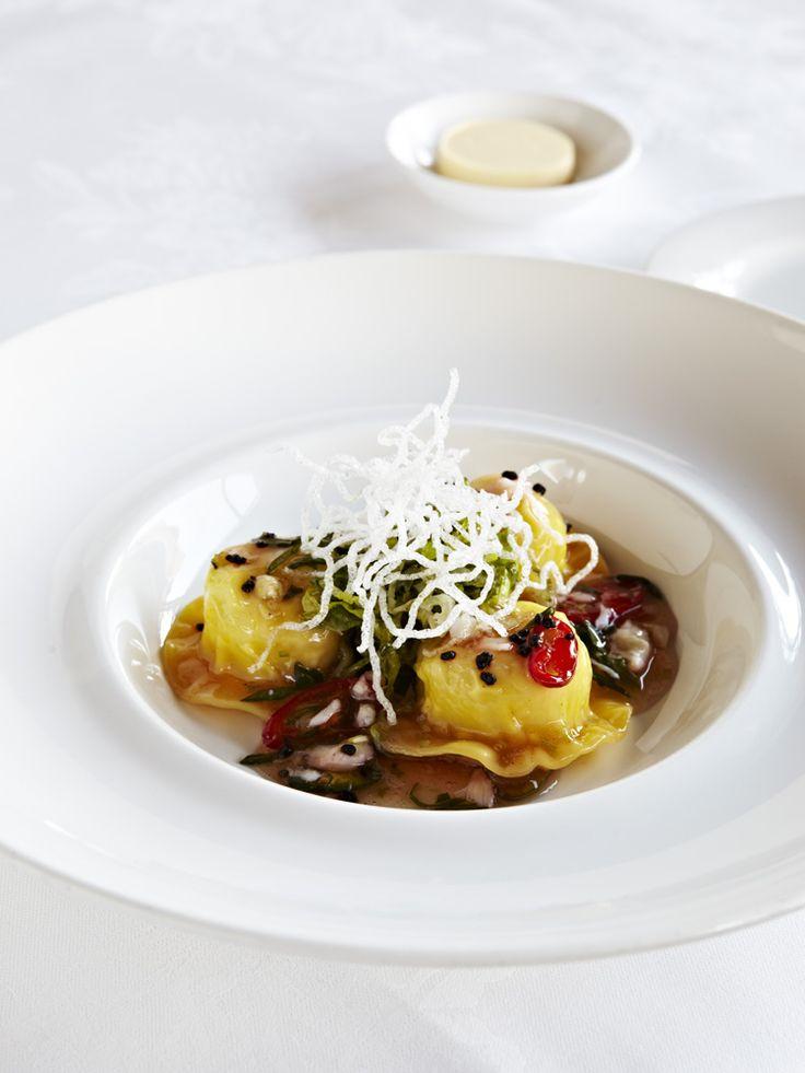 Steamed Spanner Crab Wonton Raviolo, Shredded Root Vegetable Salad ...