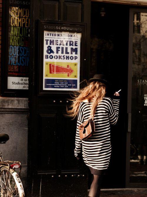 stripes, hats, hair down