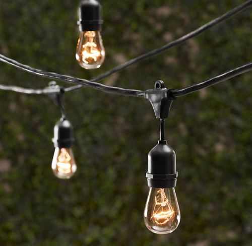 Globe String Lights With Black Cord : Vintage Patio Globe String Lights Black Cord, Clear Bulbs 50