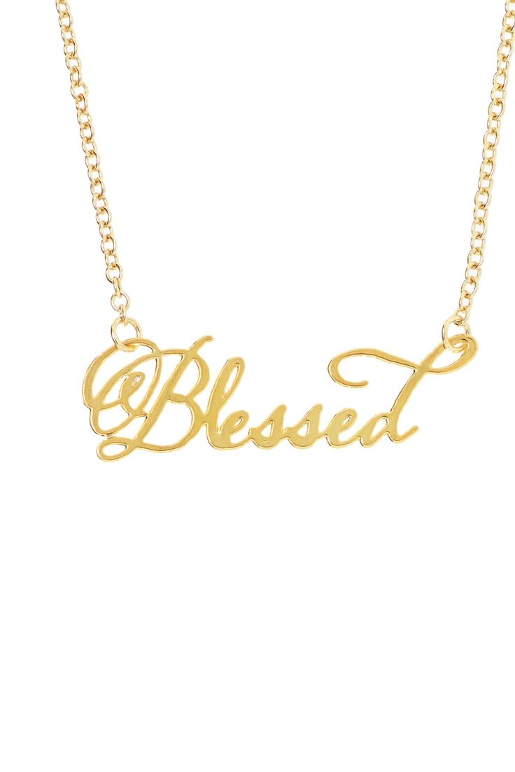blessed script necklace shiny