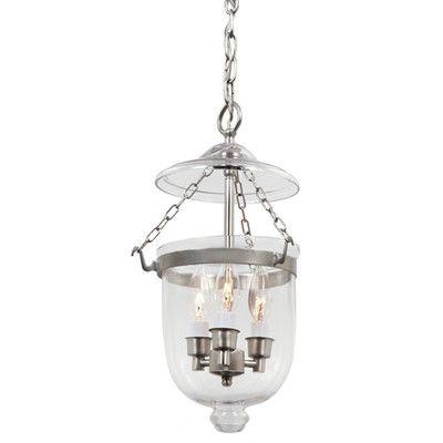 jvi designs 3 light small bell jar foyer pendant wayfair. Black Bedroom Furniture Sets. Home Design Ideas