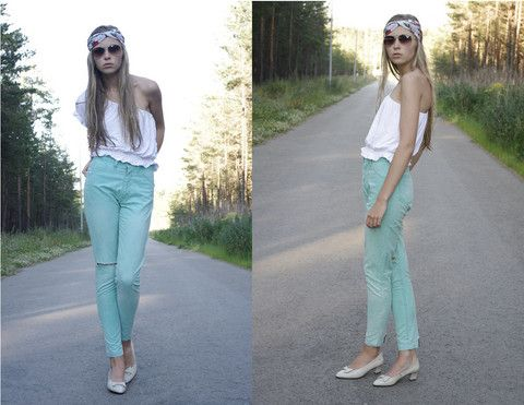 One Shoulder Blouse, Sunglasses, Bow Shoes, Scarf Worn As A Turban Style Headband