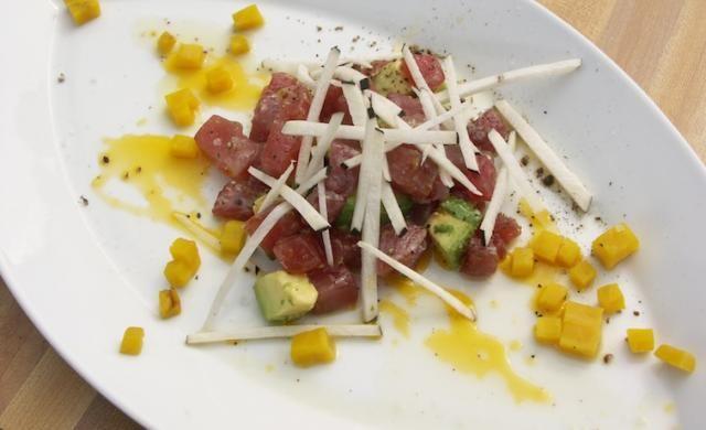 Tuna Tartare With Avocado And Radish Recipe — Dishmaps