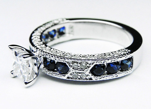 Ring - Princess Cut Diamond Vintage Engagement Ring with Blue-Sapphire ...