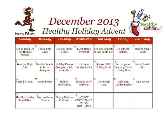 December Advent Exercise Calendar | Calendar Template 2016