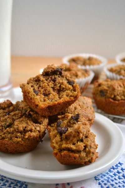 Multigrain Pumpkin Chocolate Chip Muffins