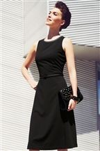 Like this dress, fitted bodice and aline, knee length skirt.