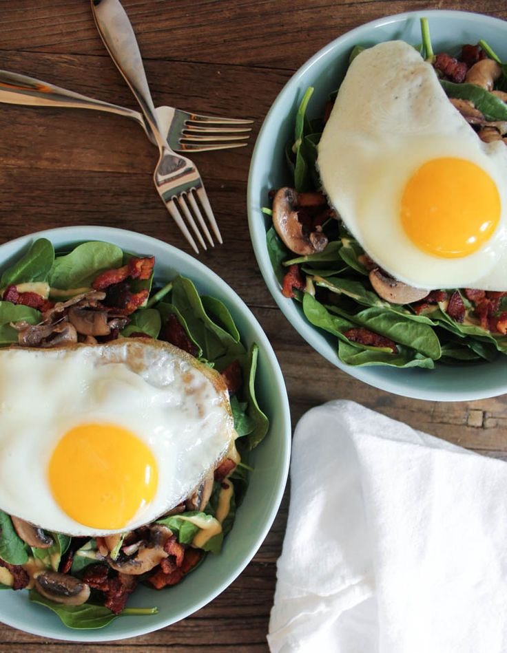 Warm Spinach Salad with Bacon Vinaigrette and a Fried Egg. Hearty ...