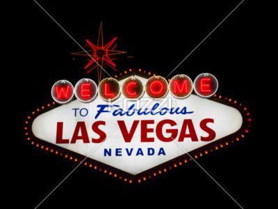 illuminated sign board. - Image of illuminated Las Vegas sign board at night.