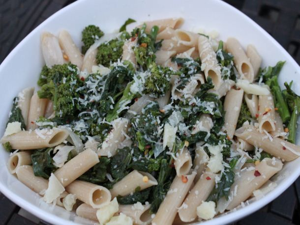 Recipe for spicy braised broccoli rabe with quinoa pasta from Serious ...