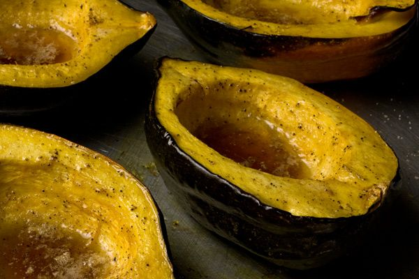 Roasted Acorn Squash - After roasting, the center of this acorn squash ...