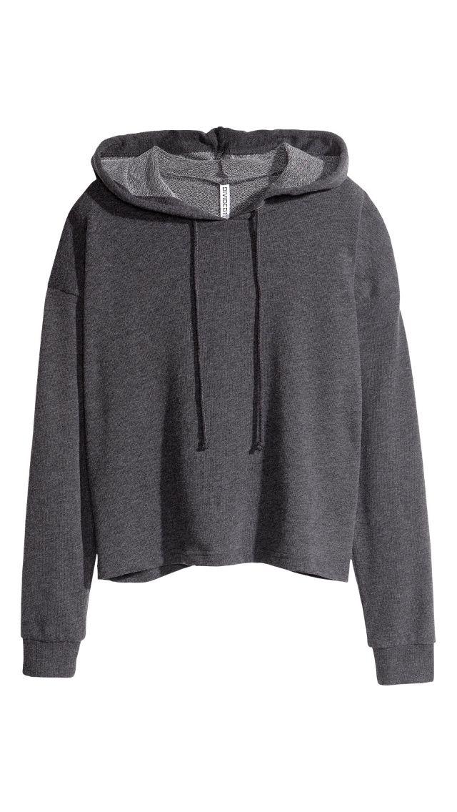 Cropped hoodie, H&M, grey