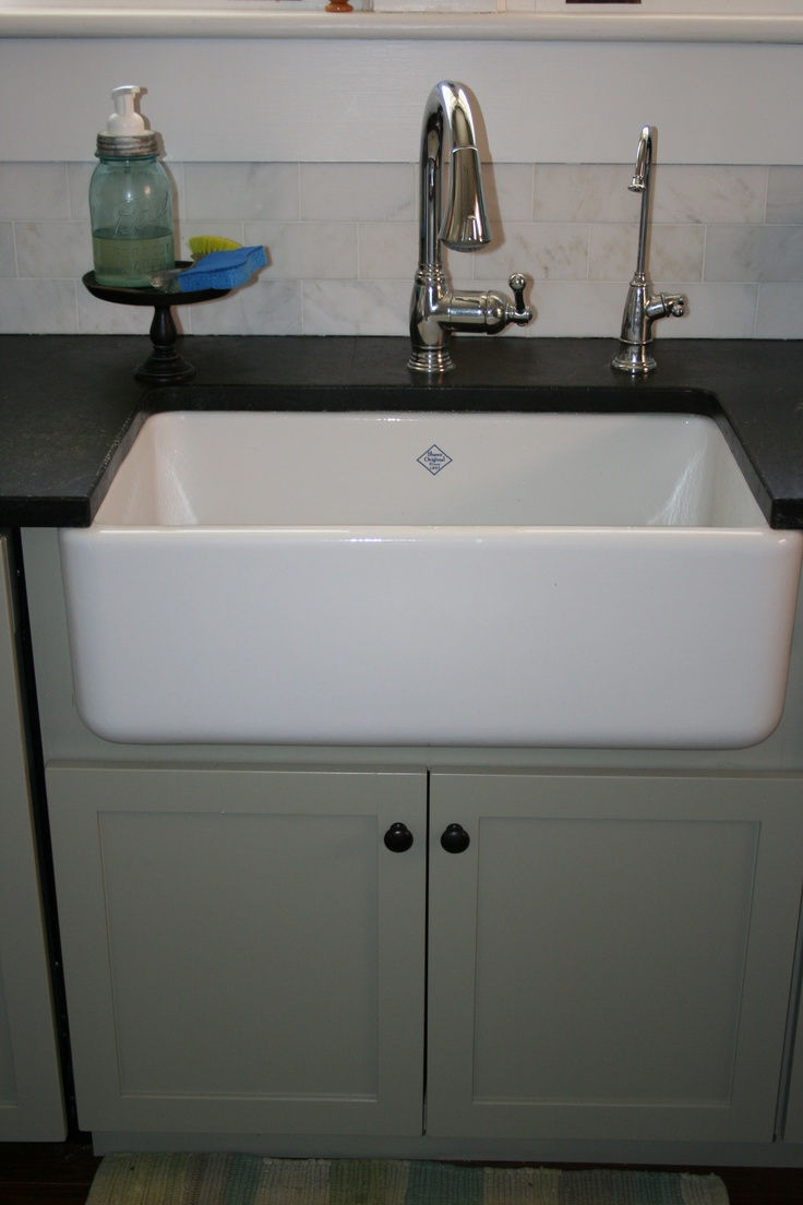 Rohls Shaw apron front farmhouse sink; Grohe Bridgeford faucet