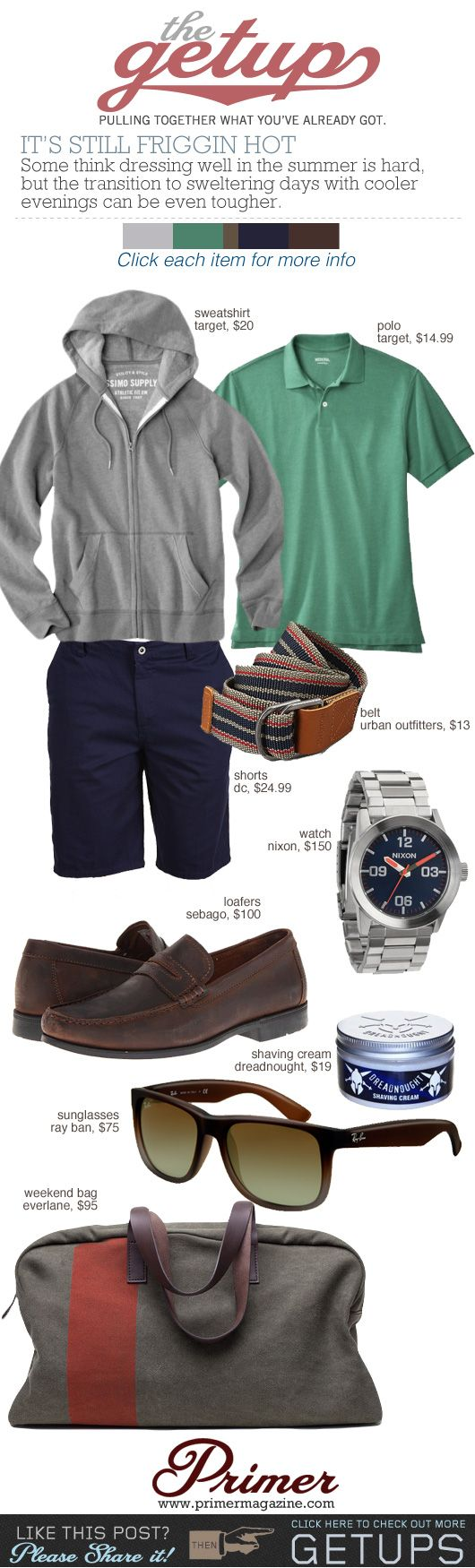 The Getup: It's Still Friggin Hot | Primer  I may pass on the Penny loafers though. Great look all-around.
