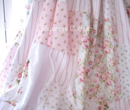 Shabby Cottage White Chenille Chic Pink Roses Aqua Blue