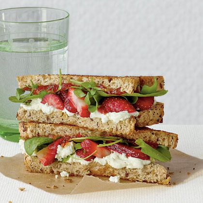 Goat cheese and strawberry grilled cheese... has red pepper jelly and ...